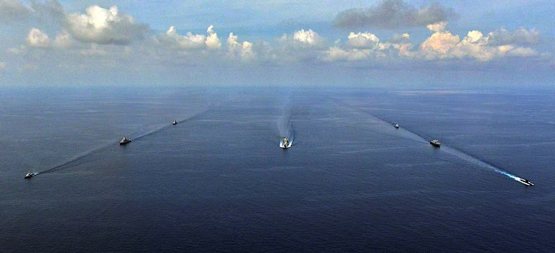 Participating ships in Exercise Bersama Shield 2015 (BS15) conduct a 'PHOTEX' (formation in company).