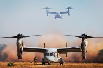 United States Marines Corps V-22 Ospreys from 265th Tiltrotor Squadron, 31st Marine Expeditionary Unit, land at Fog Bay Northern Territory, during Exercise Talisman Sabre 2015.