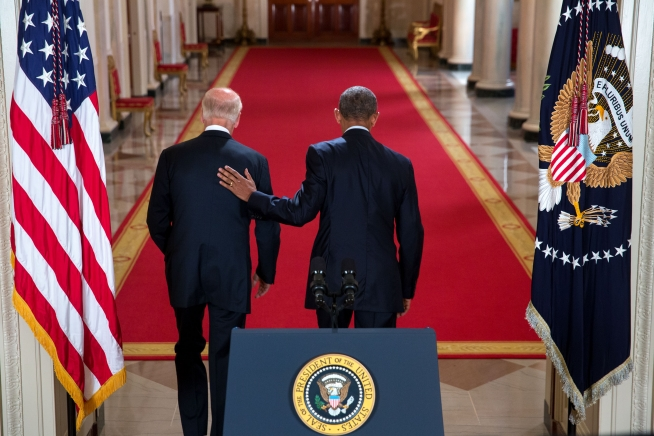 President Barack Obama walks down the Cross Hall with Vice President Joe Biden after he delivers a statement on the Iran nuclear agreement in the East Room of the White House, July 14, 2015. (Official White House Photo by Chuck Kennedy)