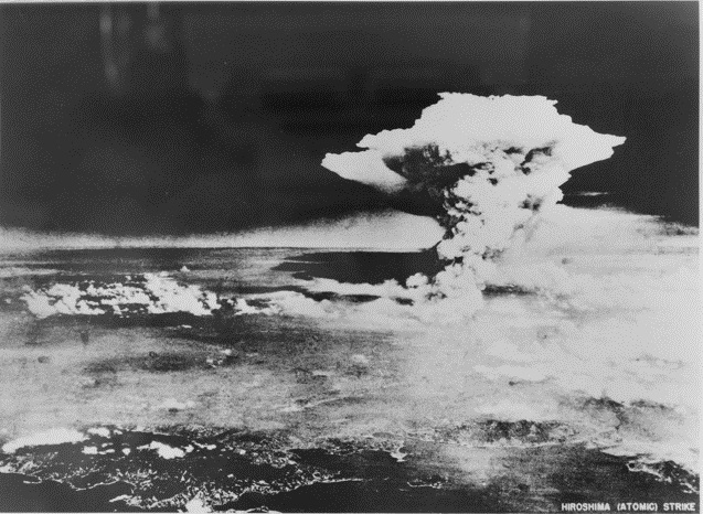 HIROSHIMA, JAPAN, 1945. THE FIRST ATOM BOMB WAS DROPPED ON HIROSHIMA ON 1945-08-06. SHOWN, THE MUSHROOM CLOUD RISING AFTER THE IMPACT. (PHOTOGRAPH DONATED BY MR HIROSHI MIYAZAWA, GOVERNOR OF THE PREFECTURE OF HIROSHIMA).