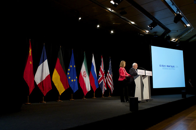 The Iran Deal is announced by EU High Representative Federica Mogherini and Iran Foreign Minister Javad Zarif at the venue of the nuclear talks in Vienna, Austria on July 14, 2015.