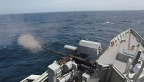 HMAS Newcastle conducted a Mini-Typhoon firing on the high seas while transiting from the Seychelles to the Gulf of Aden to join a counter terrorism focused operation with Combined Task Force 150 (CTF 150).