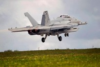 A United States Navy EA-18G Growler takes off from Andersen Air Force Base, Guam during Exercise Cope North 14.