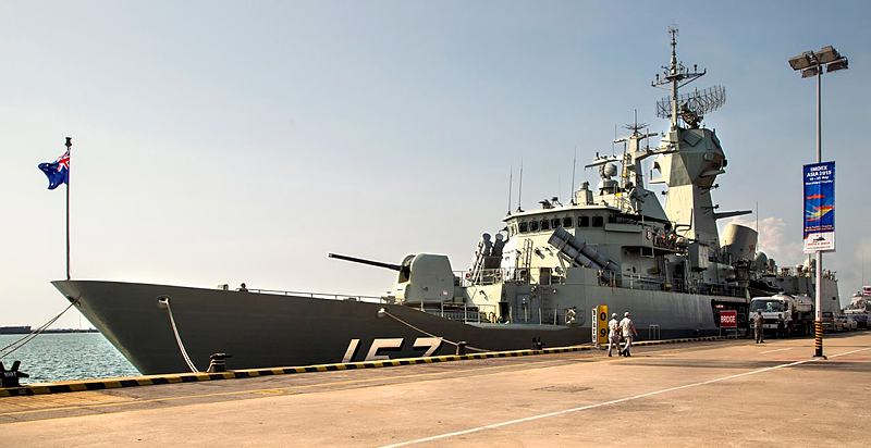 HMAS Perth alongside at Changi Naval Base in Singapore as part of the International Maritime Defence Exhibition (IMDEX) Asia 2015.