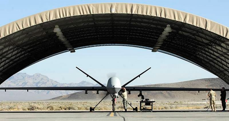 A Reaper MQ-9 UAV (Unmanned Aerial Vehicle) based at Creech Air Force Bace, Nevada, USA prepares for a training mission over the west coast of America.