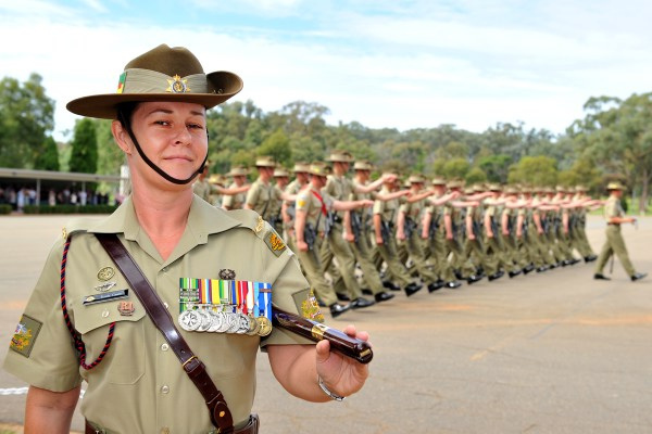 The first female Regimental Sergeant Major at the 1st Recruit Training Battalion Warrant Officer First Class Trudy Casey. Photo by: Lance Corporal Mark Doran Caption: