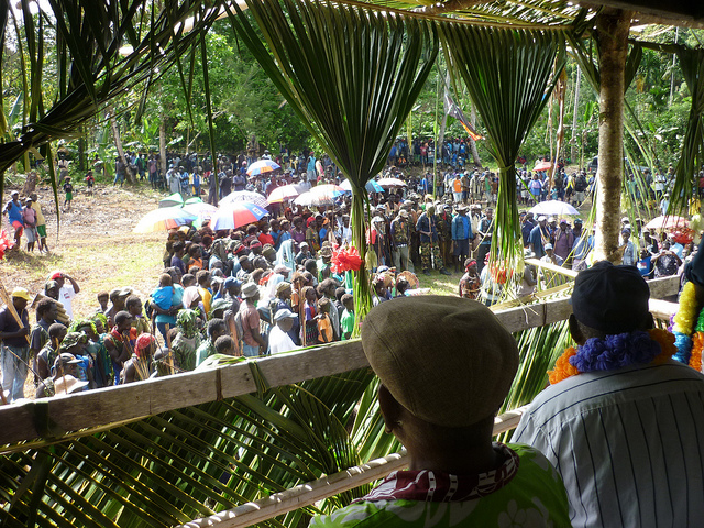 President Chief John Momis attending a reconciliation in Wisai in South Bougainville in October 2011.