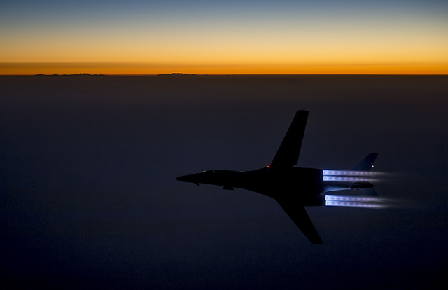 A U.S. Air Force B-1B Lancer flies over northern Iraq after conducting air strikes in Syria against ISIL targets