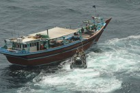 A rigid-hull inflatable boat from HMAS Toowoomba approaches a dhow suspected of smuggling to conduct a flag verification boarding. The dhow, which was in international waters about 75 nautical miles south-east of Al Ghaydah, Yemen, was subsequently declared 'stateless'.