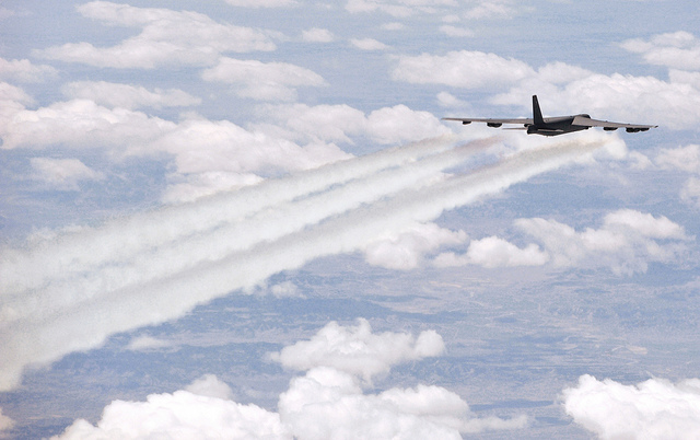 A U.S. Air Force aircrew assigned to the 23rd Bomb Squadron from Minot Air Force Base N.D., flies an Air Force B-52 Stratofortress bomber aircraft on an eight-hour sortie going over bomb dropping sequences and air refueling, April 20, 2011.