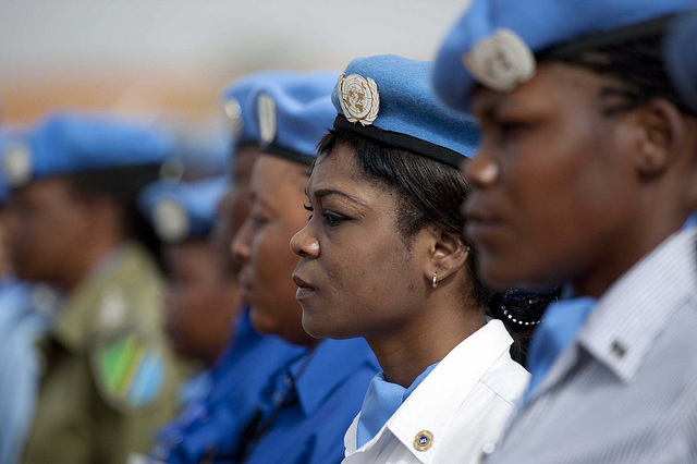 29 May 2011. El Fasher: Police women at the UNAMID commemoration of the International Day of United Nations Peacekeepers at Arc Compound, led by the Deputy Joint Special Representative, Mohammed Yonnis. Photo by Albert Gonzalez Farran / UNAMID