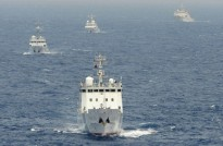 Chinese surveillance ships sail in formation in waters claimed by Japan near disputed islands called Senkaku in Japan and Diaoyu in China in the East China Sea on April 23