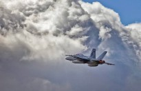 An F/A-18F Super Hornet soars over RAAF Base Amberley during Exercise Lightning Viper.