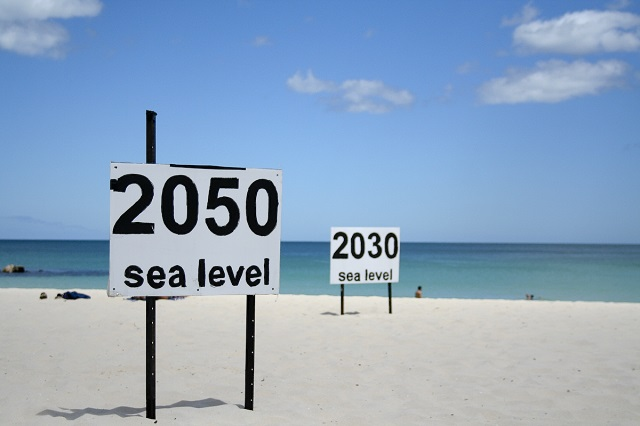 One prediction of where rising sea levels will end up at Cottesloe Beach, Perth Western Australia.