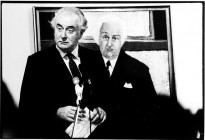 "Taken at at Realities Gallery in Toorak almost seven years after the dismissal, we see Gough Whitlam launching Clifton Pugh's biography ""Patterns of a Lifetime"" while appearing to be shadowed by a sinister ghost or demon from the past - in the form of Pugh's virtual life-size portrait of Kerr."