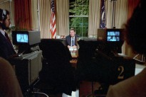 9/5/1983 President Reagan sitting at his desk in the Oval Office making an address to the Nation on the Soviet attack on a Korean civilian airliner Korean Air Liner KAL 007