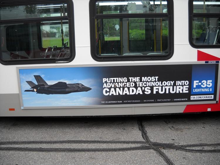 A Lockheed Martin F-35 advertisement on an OC Transpo bus, in Ottawa