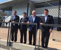 Promoting North Aus with @JoshFrydenberg, Ye Cheng (Landbridge) & Wesley Batista (JBS) in the Darwin sun. #OurNorth