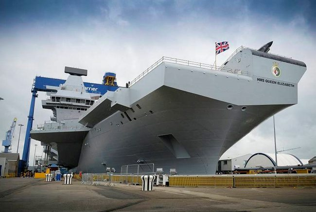 HMS Queen Elizabeth following her naming ceremony conducted at Rosyth Dockyard.