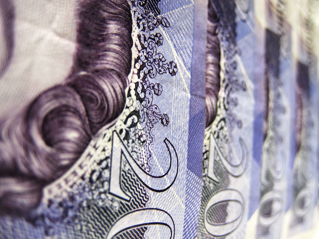 Close up of £20 notes