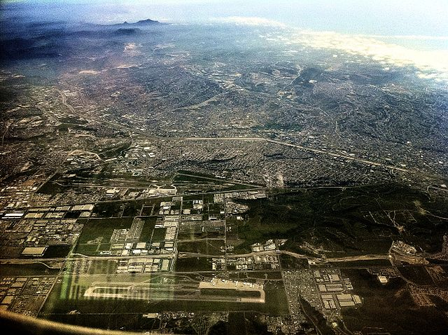Tijuana International Airport from above at 10,000