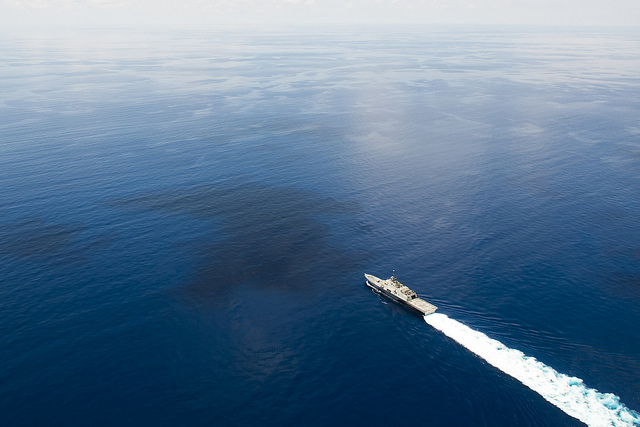 The littoral combat ship USS Fort Worth (LCS 3) conducts routine patrols in international waters of the South China Sea near the Spratly Islands.