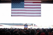 Donald Trump speaking with supporters at a hangar at Mesa Gateway Airport in Mesa, Arizona.
