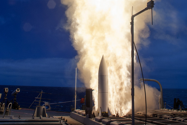 The Arleigh-Burke class guided-missile destroyer USS John Paul Jones (DDG 53) launches a Standard Missile (SM) 6 during a live-fire test of the ship's aegis weapons system.