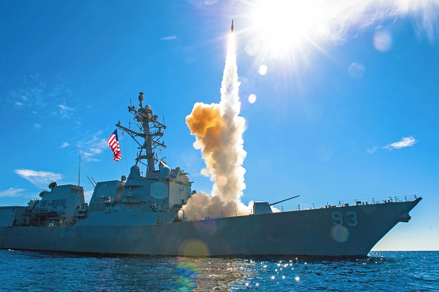 151112-N-DA737-424 PACIFIC OCEAN (Nov. 10, 2015) – The guided-missile destroyer USS Chung-Hoon (DDG 93) fires an SM-2 missile during a live-fire exercise. Sailors from the John C. Stennis Strike Group are participating in a sustainment training exercise (SUSTEX) to prepare for future deployments. (U.S. Navy photo by Mass Communication Specialist 3rd Class Jonathan Jiang/Released)