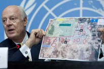 Staffan de Mistura, United Nations, Special Envoy for Syria speaks at a his first press conference at Geneva. 10 October 2014