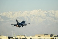 An F-16 Fighting Falcon aircraft takes off for a combat sortie from Bagram Airfield, Afghanistan Feb. 1, 2016.