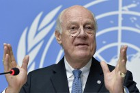 Staffan de Mistura, United Nations, Special Envoy for Syria at a press conference. 15 January 2015