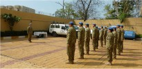 Colonel Weller, outgoing commander, addressed the parade and also issued the members of Operation ASLAN Rotation 8 with their Australian Service Medal (with clasp South Sudan) and the United Nations Mission South Sudan Medal.