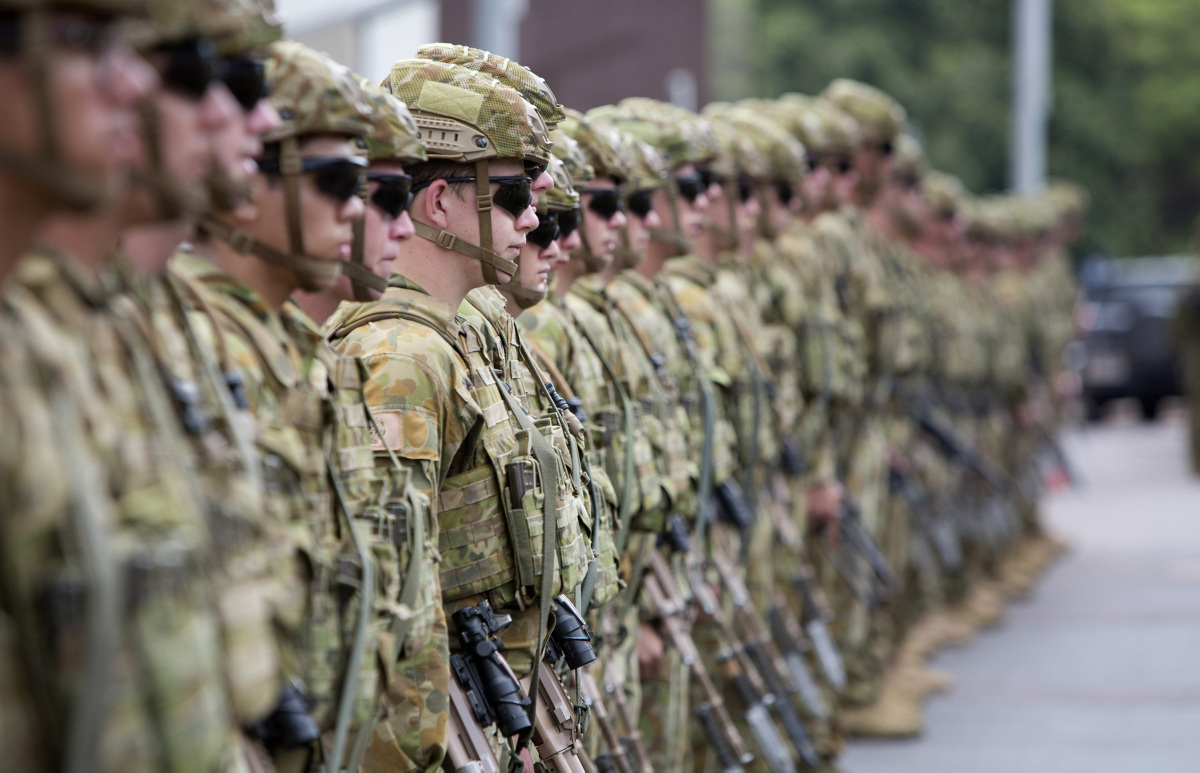 Australian Army soldiers from 5th Battalion, Royal Australian Regiment, exercise the battalion's recently granted Freedom of Entry to the city of Darwin, Northern Territory, on 5 November 2015, as part of the battalion's 50th anniversary celebrations. *** Local Caption *** The Australian Army's 5th Battalion, Royal Australian Regiment (5 RAR), conducted a Freedom of Entry parade through the city of Darwin on Thursday, 5 November 2015. Hundreds of Darwin locals lined the streets to watch around 400 soldiers from 5 RAR parade with vehicles, weaponry and its Sumatran tiger mascot, Quintus Rama, as part of the battalion's 50th anniversary celebrations. The Governor-General of Australia, His Excellency General the Honourable Sir Peter Cosgrove (Retd), AK, MC, a former member of the battalion, inspected the parade and addressed the soldiers, talking about 5 RAR's proud history, from its service back in Vietnam, to helping the Darwin community following Cyclone Tracy, and its more recent operational service in Iraq, Timor-Leste (East Timor) and Afghanistan. Originally established in 1965, 5 RAR served two tours of South Vietnam before it was reorganised and linked with the 7th Battalion to form the 5th/7th Battalion, Royal Australian Regiment, in 1973. In late-2006, the two battalions were reorganised and de-linked. The 5th Battalion, Royal Australian Regiment, again joined the Australian Army's order of battle in its own right. The 5th Battalion, Royal Australian Regiment, motto is 'Duty first'.