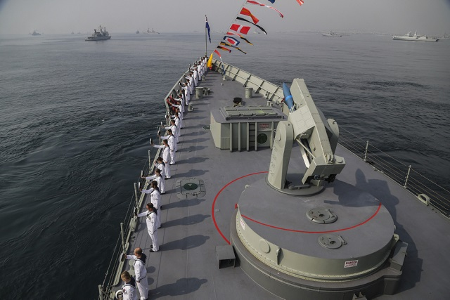 The crew of HMAS Darwin during a 'Cheer Ship Ceremony', during the Indian International Fleet Review in Visakhapatnam, India. *** Local Caption *** During the 4th- 9th of February 2016, the Indian Navy hosted the International Fleet Review (IFR), a significant event for the nations maritime history. This is the eleventh Fleet Review but only the second international edition. The IFR serves to provide a platform for participating navies to interact with each other, strengthen bridges of friendship, towards developing a common appreciation of maritime challenges and the potential for addressing them through a united approach. The IFR included dignitries, ships and personnel from 51 different countries.