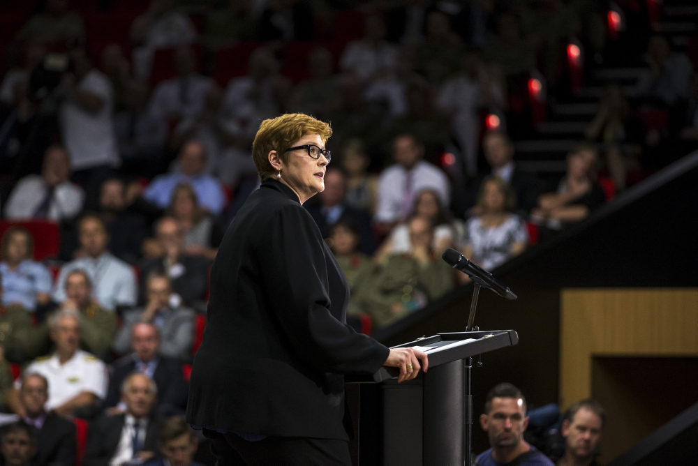 Minister for Defence the Hon Marise Payne, MP, speaking at the launch of the 2016 Defence White Paper at the Australian Defence Force Academy (ADFA) in Canberra. . *** Local Caption *** On 25 February 2016, the Prime Minister, The Hon Malcolm Turnbull, MP, and the Minister for Defence, Senator The Hon Marise Payne released the 2016 Defence White Paper, the Integrated Investment Program and the Defence Industry Policy Statement. Together, these three documents set out the Government's direction to Defence to guide our strategy, capability, and organisational and budget planning.