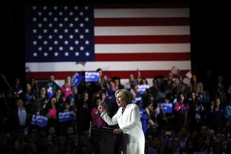 Democratic presidential candidate Hillary Clinton addresses supporters at her Super Tuesday election night rally in Miami, Tuesday, March 1, 2016.