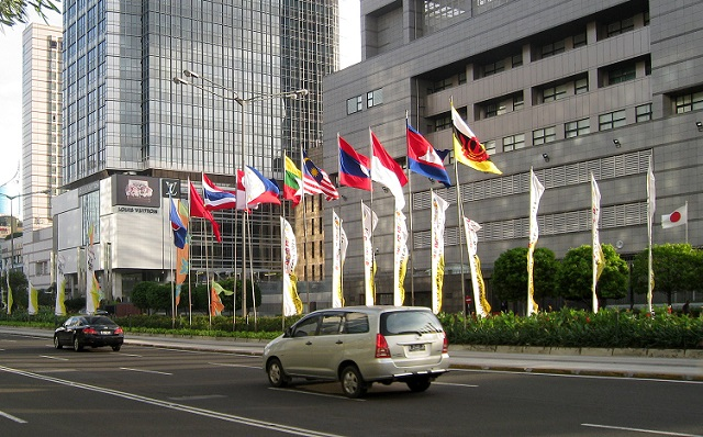 The flags of ASEAN nations raised in MH Thamrin Avenue, right in front of Japanese Embassy in Jakarta, during 18th ASEAN Summit, Jakarta, 8 May 2011.