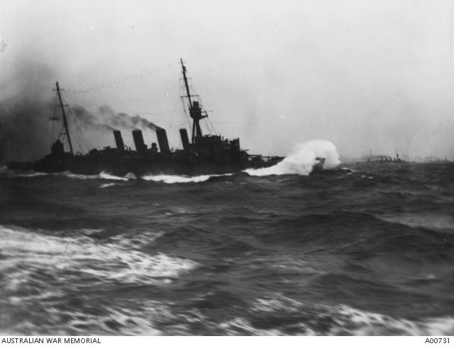 HMAS Sydney at full speed in a heavy sea off Dogger Bank.