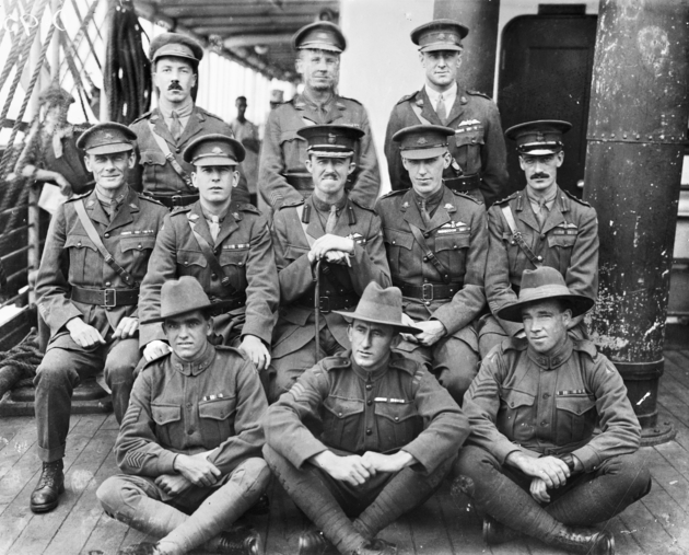 Australian Flying Corps officers and Non-commissioned officers aboard HMAT Wahehe on the return voyage to Australia.