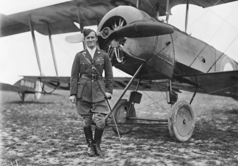 Captain (Capt) Arthur Henry Cobby DSO DFC standing in front of Avro 504k. AWM.